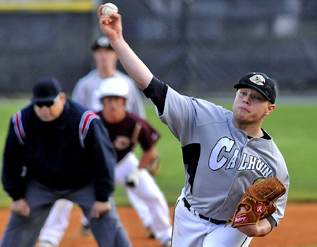 Calhoun's Austin Norrell delivers a pitch against Dade County early in the game Thursday. Norrell threw a shutout and gave up four hits in a 2-0 victory at home.