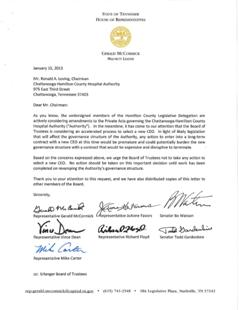 Tennessee lawmakers' letter to Erlanger