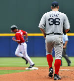 Hanson wins again, leading Braves past Red Sox 2-1