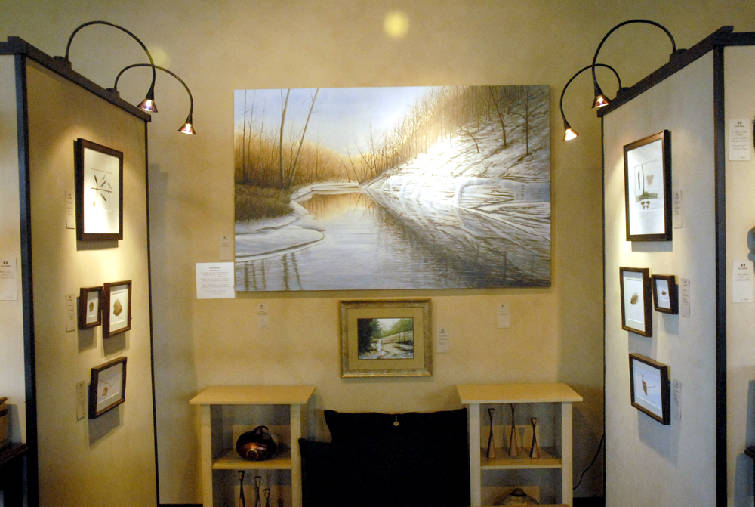 With artwork, mixing styles, mediums, frames perfectly acceptable ...