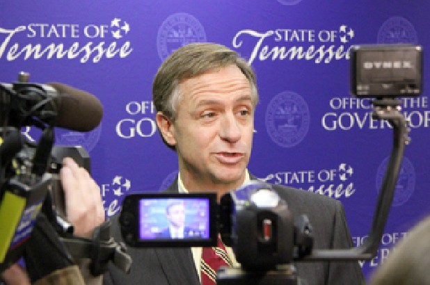 Republican Gov. Bill Haslam speaks to reporters at the state Capitol in Nashville. Haslam has been steadfast in his defense of a move in his first day in office last month to scuttle his predecessor's requirement for the governor and his senior staff to disclose the amount of their outside earnings. The wording of the release and internal e-mails obtained by The Associated Press through a public records request indicate that senior advisers carefully planned the media strategy for informing the public about the decision. (AP Photo/Erik Schelzig)