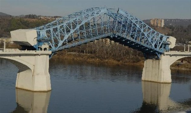 The Market Street Bridge spans the Tennessee River between downtown Chattanooga and the Northshore District.
