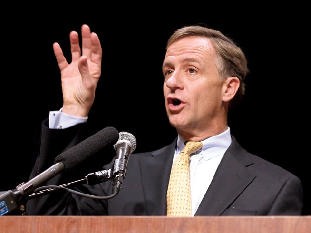 Gov. Bill Haslam speaks to the Tennessee chapter of the National Federation of Independent Business in Nashville on Tuesday. The Republican governor said he's pleased the House will take up his education package before delving into a measure aiming to strip teachers of collective bargaining rights. (AP Photo/Erik Schelzig)