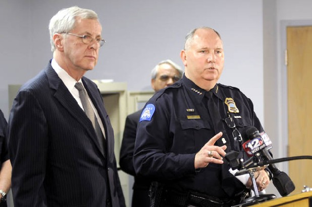 Chattanooga Chief Bobby Dodd speaks to the media at the Police Service Center about a recent disturbance at Coolidge Park as Mayor Ron Littlefield, right, looks on.  The Chattanooga Police unveiled new measures to keep Coolidge Park safe.