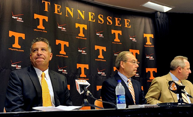University of Tennessee men's basketball coach Bruce Pearl, left, UT Knoxville Chancellor Jimmy Cheek and athletic director Mike Hamilton look on during a Sept. 2010 news conference in Knoxville. Pearl expressed remorse for giving misleading information to the NCAA during an investigation into the school's basketball program.
