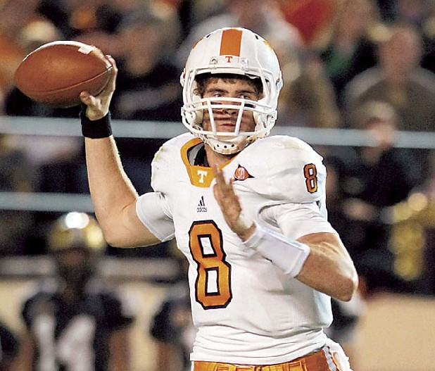Tennessee quarterback Tyler Bray passes against Vanderbilt in Nashville last fall. Tennessee won 24-10. (AP Photo/Mark Humphrey)