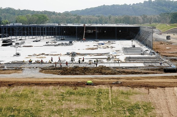 The Amazon construction site is near the front gate of the industrial park at Enterprise South.