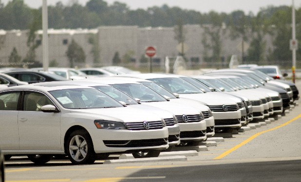 Passats line a lot at the Volkswagen plant.