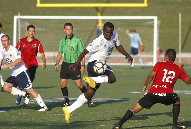 CFC's Chris Ochieng controls the ball in midair during the match against Atlanta on Saturday. The Chattanooga Football Club played against the Atlanta Silverback Reserves at Finley Stadium on Saturday afternoon.