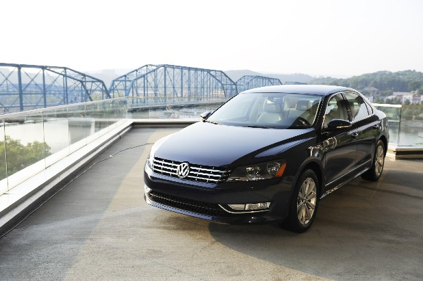 A new Volkswagen Passat sits on display on the deck of the Hunter Museum of Art in Chattanooga during a Volkswagen dinner and reception for international media in this file photo.