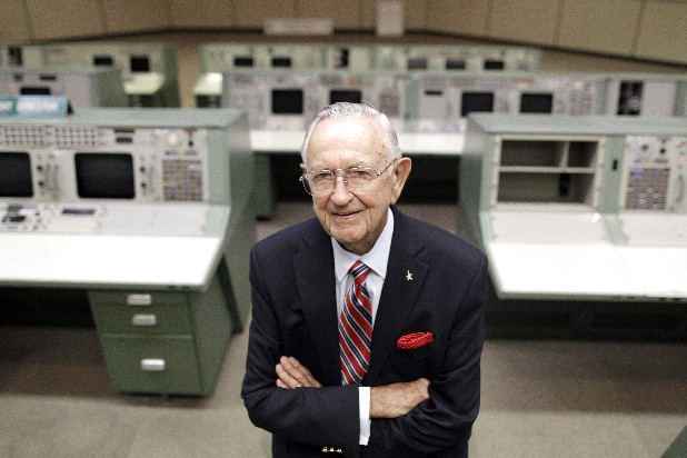 NASA Mission Control founder Chris Kraft stands in the old Mission Control at Johnson Space Center in Houston. First moonwalker Neil Armstrong, first American in orbit John Glenn, Mission Control founder Kraft, Apollo 13 commander Jim Lovell, first shuttle pilot Robert Crippen and others are pushing for a last minute reprieve for the about-to-be-retired space shuttle fleet. (AP Photo)