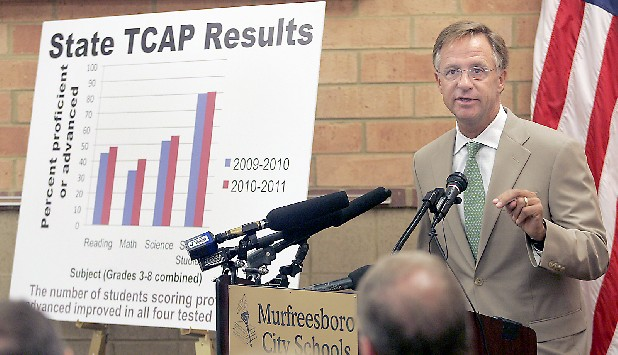 Gov. Bill Haslam congratulated Tennessee schools for improves TCSAP test scores during a news conference in Murfreesboro, Tenn. (AP Photo)