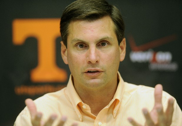 University of Tennessee football coach Derek Dooley talks about the upcoming season during a media luncheon Monday at Neyland Stadium. The Vols' first fall practice is Tuesday and the team opens the season Sept. 3 against Montana.