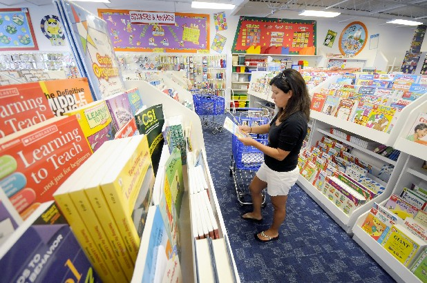 North LaFayette Elementary teacher Shelly Queen shops for school supplies at the School Box in Chattanooga on Friday.