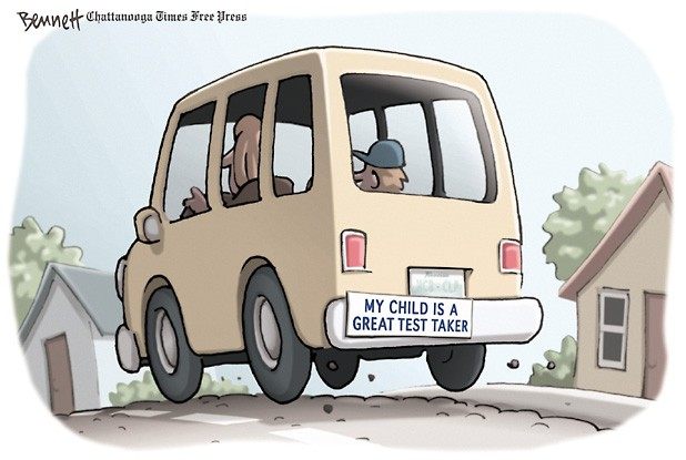 "Cartoon of car with a bumper sticker that reads ""My child is a great test taker"""