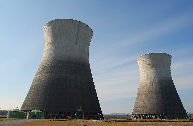 The two cooling towers at the TVA Bellefonte Nuclear power plant in Hollywood, Ala., tower 500 feet above the ground. 