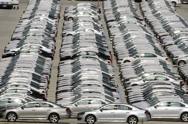 Rows of new Passats await delivery Tuesday at the Volkswagen manufacturing plant in Chattanooga's Enterprise South industrial park.