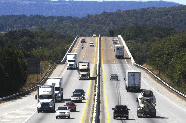 Traffic travels Monday on I-24 near Nickajack Lake.