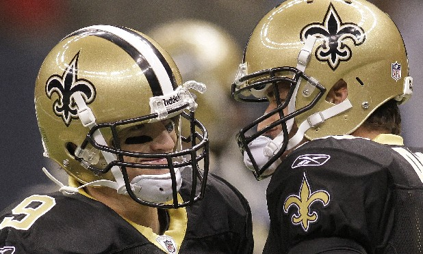 New Orleans Saints quarterback Drew Brees (9) and New Orleans Saints quarterback Chase Daniel (10) before an NFL preseason football game against the Tennessee Titans at the Louisiana Superdome in New Orleans, Thursday, Sept. 1, 2011. (AP Photo/Bill Haber)