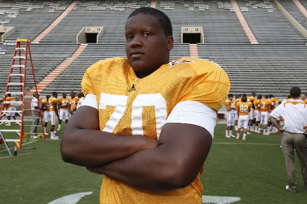 Ja'Wuan James of the University Tennessee football team poses for a photograph during media day at Neyland Stadium in Knoxville.