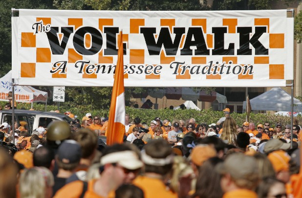 Fans gather in anticipation of the traditional Vol Walk before the NCAA college football game between Tennessee and Western Kentucky on Saturday, Sept. 5, 2009 in Knoxville, Tenn. (AP Photo/Wade Payne)