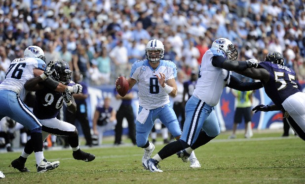 Tennessee Titans quarterback Matt Hasselbeck (8) scrambles in the third quarter of an NFL football game against the Baltimore Ravens on Sunday, Sept. 18, 2011, in Nashville, Tenn. (AP Photo/John Russell)