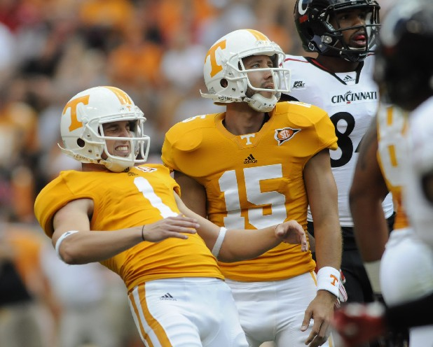 Vols Kicker Michael Palardy (1) reacts after missing a field goal attempt as holder Chip Rhome (15) watches.