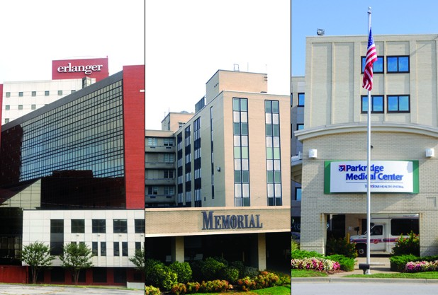 L to R: Erlanger Hospital, Memorial Hospital, Parkridge Hospital.