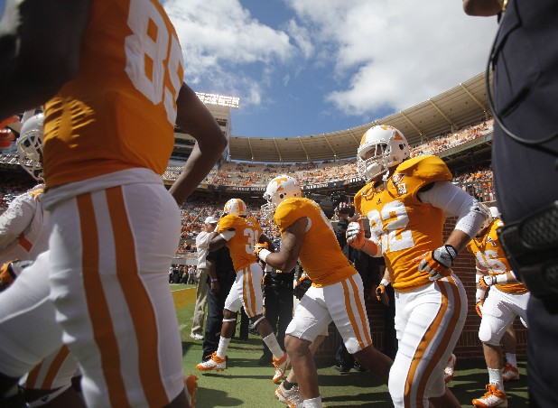 The Vols take to the field before UT's game against Buffalo at Neyland Stadium on Saturday.