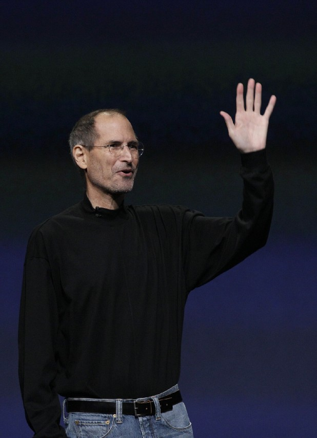 Chairman and CEO Steve Jobs  speaks at an Apple event at the Yerba Buena Center for the Arts Theater in San Francisco