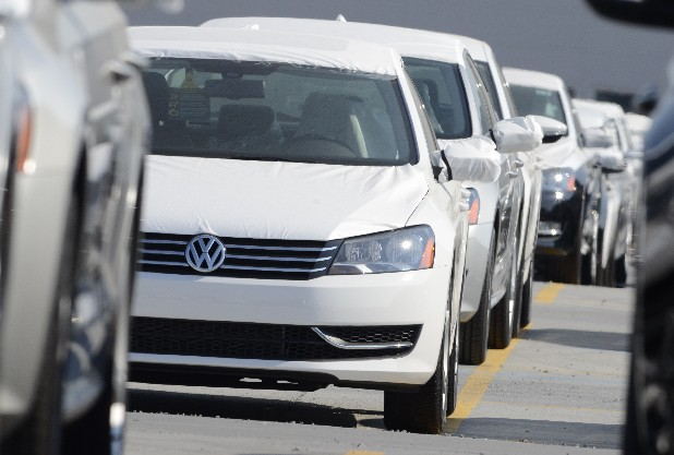 Rows of new Passats await delivery at the Chattanooga Volkswagen manufacturing plant at the Enterprise South industrial park.