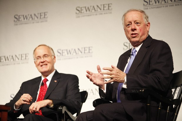 Phil Bredesen (former democratic governor of Tennessee) speaks to a crowd as Jim Douglas smiles to a crowd in Guerry Auditorium at Sewanee University on Tuesday. Bredesen and Douglas discussed the polarization of American politics and the necessity of bridging social gaps between political aisles.