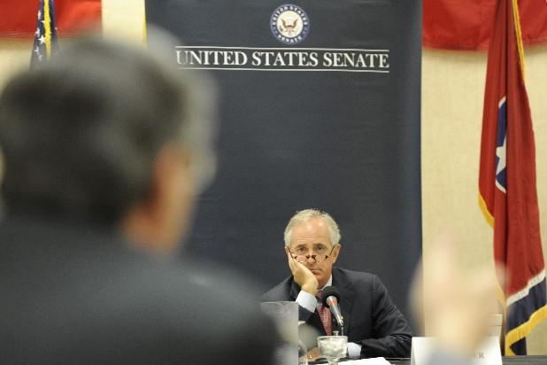 U.S. Sen. Bob Corker, R-Tenn., listens to a response by Harold DePriest, president and CEO of the EPB and chairman for the Tennessee Valley Public Power Association, during a roundtable discussion Thursday morning at the University of Tennessee at Chattanooga regarding electricity and the Tennessee Valley Authority's effect on economic development. Corker, who is a member of the Senate Energy and Natural Resources Committee, led the discussion with several panelists.