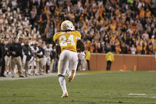 Tennessee redshirt sophomore defensive back Eric Gordon returns an interception for a touchdown to win the game in overtime against Vanderbilt.