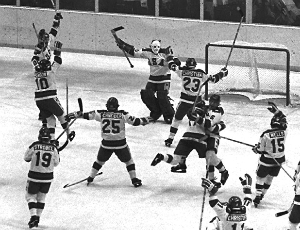 The 1980 U.S. Olympic hockey team members celebrate after their upset victory over the heavily favored Soviet team by 4-3 score in the Winter Olympics in Lake Placid, N.Y., on Feb. 22, 1980. (AP Photo)