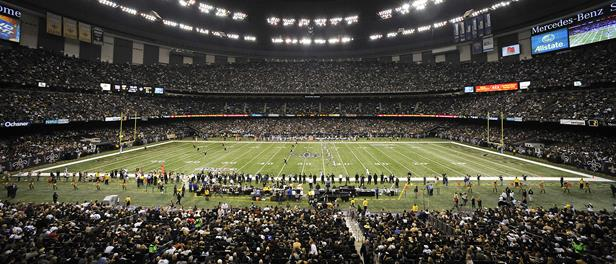 The Mercedes-Benz Superdome is seen during the third quarter of an NFL football game between the New Orleans Saints and the New York Giants in New Orleans, Monday, Nov. 28, 2011. (AP Photo/Bill Feig)