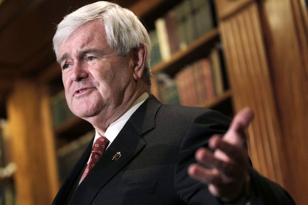 Republican presidential candidate, former House Speaker Newt Gingrich speaks at a news conference in New York on Monday.