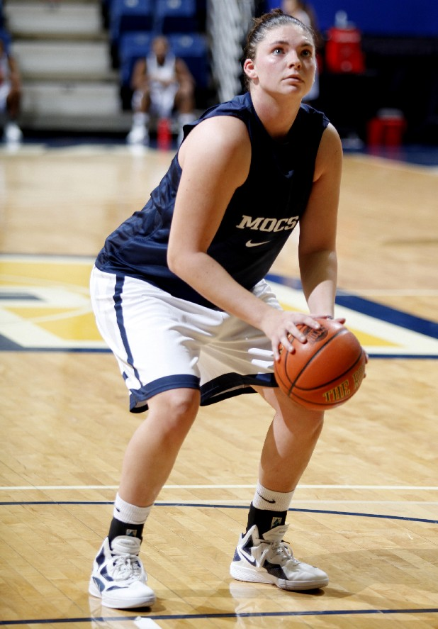 Faith Dupree shoots free throws during practice at UTC's McKenzie Arena on Tuesday.