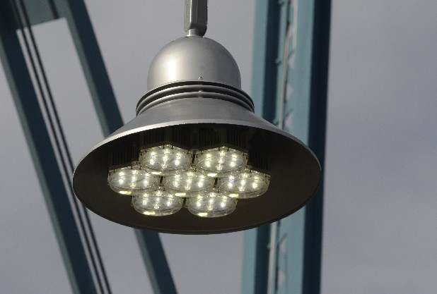 Don Lepard's Global Green Lighting Inc. designed and installed these old-fashioned light fixtures with very modern lights on the Walnut Street Brid