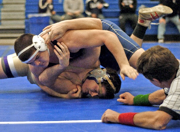 Soddy-Daisy's Billy Swanson controls Christian Brother's Phillip Nichols in the 220-pound class.  Swanson pinned Nichols in the finals of the Cleveland Duals held at Cleveland High School.