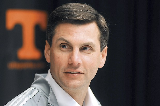 UT football coach Derek Dooley talks to the media at Neyland Stadium.