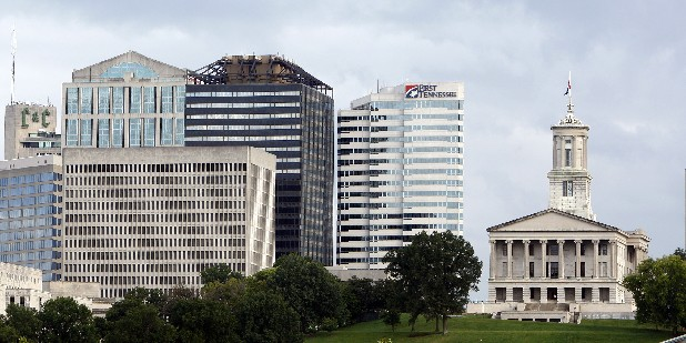 The Tennessee State Capitol stands apart from newer buildings in Nashville, Tenn.