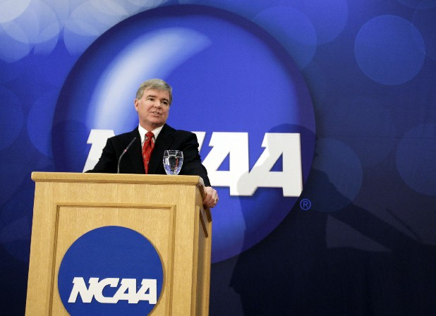 In this file photo, Mark A. Emmert speaks during a news conference after being announced as the president elect of the NCAA in Indianapolis in April 2010.