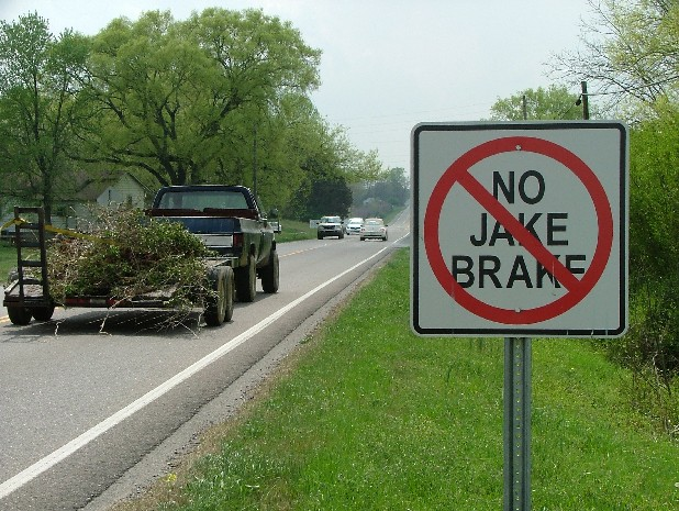 A 'No Jake Brake' sign is seen in this file photo.