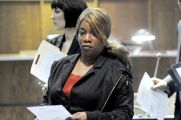 Tammy DeShawn Jackson, 32, leaves Judge Rebecca Sterns courtroom Friday. Jackson is charged with having sexual contact with an inmate and official misconduct.