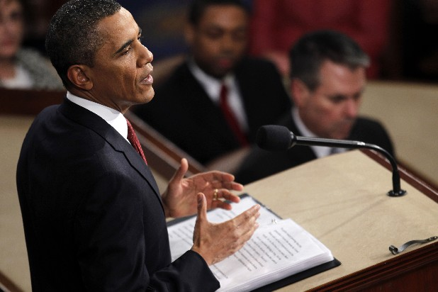 President Barack Obama gestures while giving his State of the Union address on Capitol in Washington, Tuesday, Jan. 24, 2012. (AP Photo/Evan Vucci)