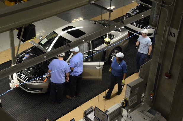 A Volkswagen Passat moves through the assembly line at the Chattanooga manufacturing plant.