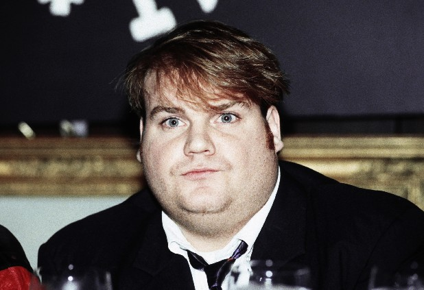 "Comedian Chris Farley, new cast member of NBC's ""Saturday Night Live"" is shown on Sept. 18, 1990. (AP Photo/Richard Drew)"