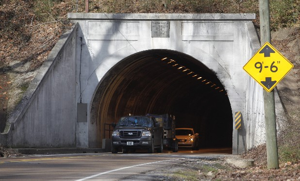 Motorists pass through the tunnel on Wilcox Boulevard on Wednesday.