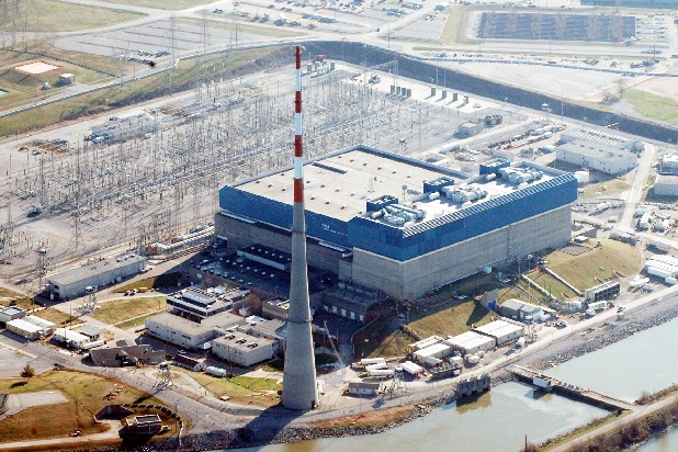 Tennessee Valley Authority's Browns Ferry Nuclear Plant near Athens, Ala., is seen from above.
